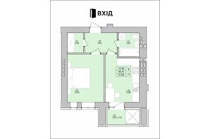 ЖК на Королева: планировка 1-комнатной квартиры 37.64 м²