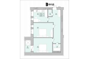 ЖК на Королева: планировка 2-комнатной квартиры 62.48 м²