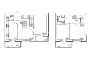ЖК на Сенной: планировка 4-комнатной квартиры 94.97 м²