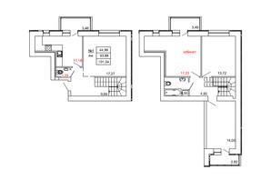 ЖК на Сенной: планировка 4-комнатной квартиры 101.54 м²