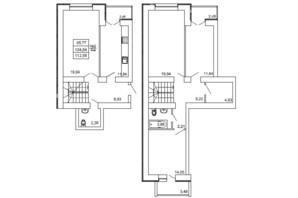 ЖК на Сенной: планировка 4-комнатной квартиры 112.58 м²