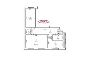 ЖК пер. Лютневый, 3: планировка 2-комнатной квартиры 60.4 м²