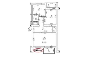 ЖК пер. Лютневый, 3: планировка 2-комнатной квартиры 60.2 м²
