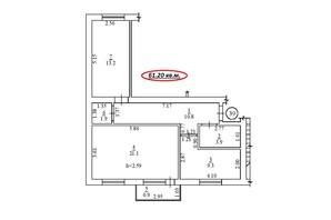 ЖК пер. Лютневый, 3: планировка 2-комнатной квартиры 61.2 м²