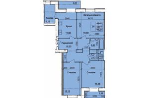 ЖК пер. Олега Кошевого, 12: планировка 3-комнатной квартиры 95.28 м²