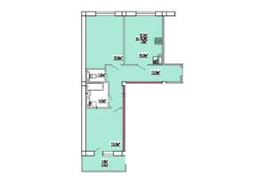 ЖК по ул. 3-й микрорайон 8: планировка 2-комнатной квартиры 67.5 м²