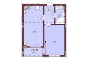 ЖК по ул. Антоновича 32: планировка 1-комнатной квартиры 46 м²