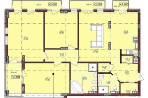 ЖК по ул. Антоновича 32: планировка 4-комнатной квартиры 137 м²