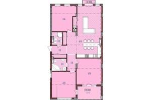 ЖК по ул. Антоновича 32: планировка 3-комнатной квартиры 130 м²