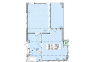 ЖК по ул. Антоновича: планировка 1-комнатной квартиры 48.77 м²