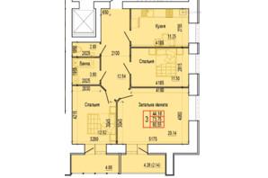ЖК по ул. Харьковская, 37: планировка 3-комнатной квартиры 80.55 м²