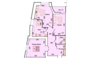 ЖК по ул. Харьковская, 37: планировка 3-комнатной квартиры 82.28 м²