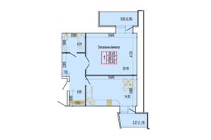 ЖК по ул. Харьковская, 37 (корпус 1): планировка 1-комнатной квартиры 53.93 м²