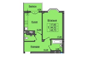 ЖК по ул. Хмельницкого: планировка 1-комнатной квартиры 45.73 м²