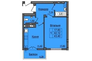 ЖК по ул. Хмельницкого: планировка 1-комнатной квартиры 43.4 м²