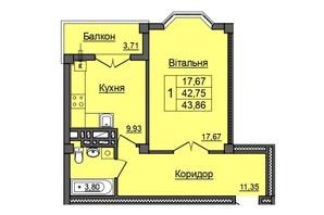 ЖК по ул. Хмельницкого: планировка 1-комнатной квартиры 43.86 м²
