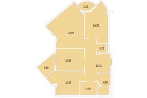 ЖК по ул. Короля Даниила: планировка 3-комнатной квартиры 96 м²