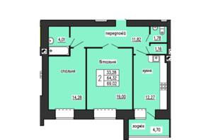 ЖК по ул. Лучаковского-Троллейбусная: планировка 2-комнатной квартиры 69.02 м²