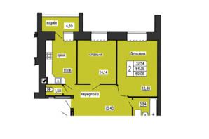ЖК по ул. Лучаковского-Троллейбусная: планировка 2-комнатной квартиры 69.08 м²