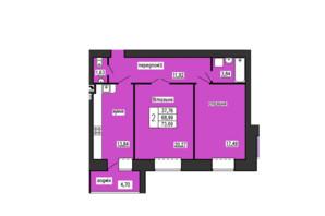 ЖК по ул. Лучаковского-Троллейбусная: планировка 2-комнатной квартиры 73.69 м²