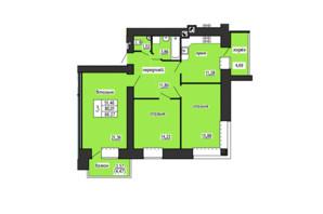 ЖК по ул. Лучаковского-Троллейбусная: планировка 3-комнатной квартиры 88.27 м²