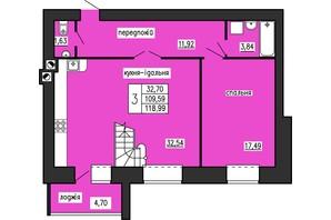 ЖК по ул. Лучаковского-Троллейбусная: планировка 2-комнатной квартиры 118.99 м²