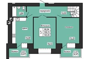 ЖК по ул. Лучаковского-Троллейбусная: планировка 4-комнатной квартиры 140.45 м²