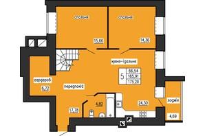 ЖК по ул. Лучаковского-Троллейбусная: свободная планировка квартиры 175.28 м²