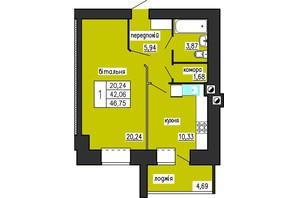 ЖК по ул. Лучаковского-Троллейбусная: планировка 1-комнатной квартиры 46.75 м²