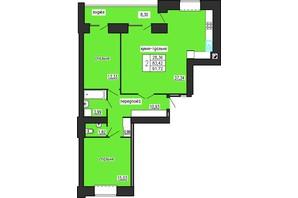ЖК по ул. Лучаковского-Троллейбусная: планировка 2-комнатной квартиры 91.72 м²