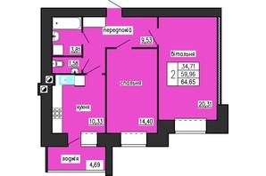 ЖК по ул. Лучаковского-Троллейбусная: планировка 2-комнатной квартиры 64.65 м²