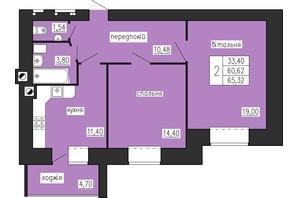 ЖК по ул. Лучаковского-Троллейбусная: планировка 2-комнатной квартиры 65.32 м²