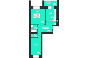 ЖК по ул. Лучаковского-Троллейбусная: планировка 2-комнатной квартиры 68.1 м²