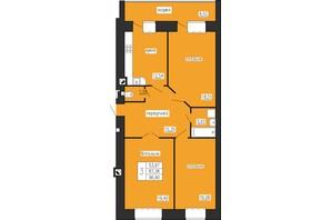 ЖК по ул. Лучаковского-Троллейбусная: планировка 3-комнатной квартиры 96.9 м²