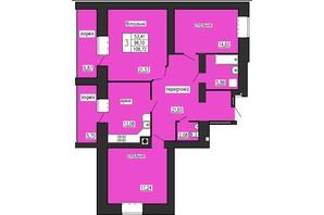 ЖК по ул. Лучаковского-Троллейбусная: планировка 3-комнатной квартиры 108.72 м²