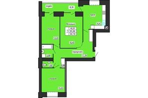 ЖК по ул. Лучаковского-Троллейбусная: планировка 3-комнатной квартиры 94.16 м²