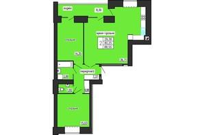 ЖК по ул. Лучаковского-Троллейбусная: планировка 2-комнатной квартиры 88.55 м²