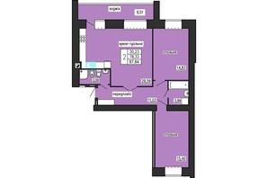 ЖК по ул. Лучаковского-Троллейбусная: планировка 2-комнатной квартиры 87.84 м²