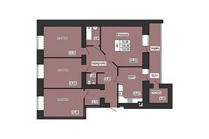 ЖК по ул. Лучаковского-Троллейбусная: планировка 4-комнатной квартиры 124.56 м²
