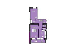 ЖК по ул. Лучаковского-Троллейбусная: планировка 2-комнатной квартиры 78.34 м²