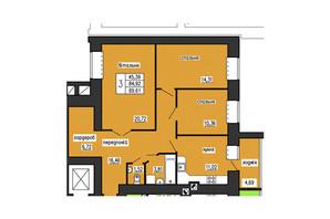 ЖК по ул. Лучаковского-Троллейбусная: планировка 3-комнатной квартиры 89.61 м²