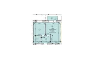 ЖК по ул. Мичурина: планировка 1-комнатной квартиры 45.53 м²