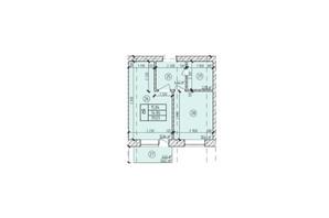 ЖК по ул. Мичурина: планировка 1-комнатной квартиры 39.03 м²