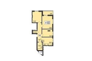 ЖК по ул. Мира 4В: планировка 3-комнатной квартиры 73.62 м²