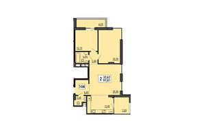 ЖК по ул. Мира 4В: планировка 3-комнатной квартиры 97.07 м²