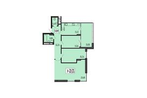 ЖК по ул. Мира 4В: планировка 3-комнатной квартиры 101.03 м²