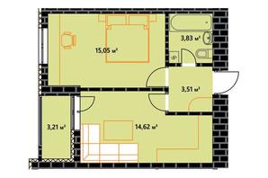 ЖК по ул. Независимости 146а: планировка 1-комнатной квартиры 38.65 м²