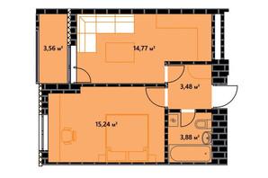 ЖК по ул. Независимости 146а: планировка 1-комнатной квартиры 39.15 м²