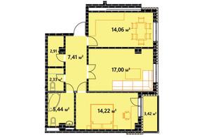 ЖК по ул. Независимости 146а: планировка 2-комнатной квартиры 64.4 м²