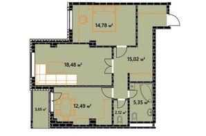 ЖК по ул. Независимости 146а: планировка 2-комнатной квартиры 70.06 м²